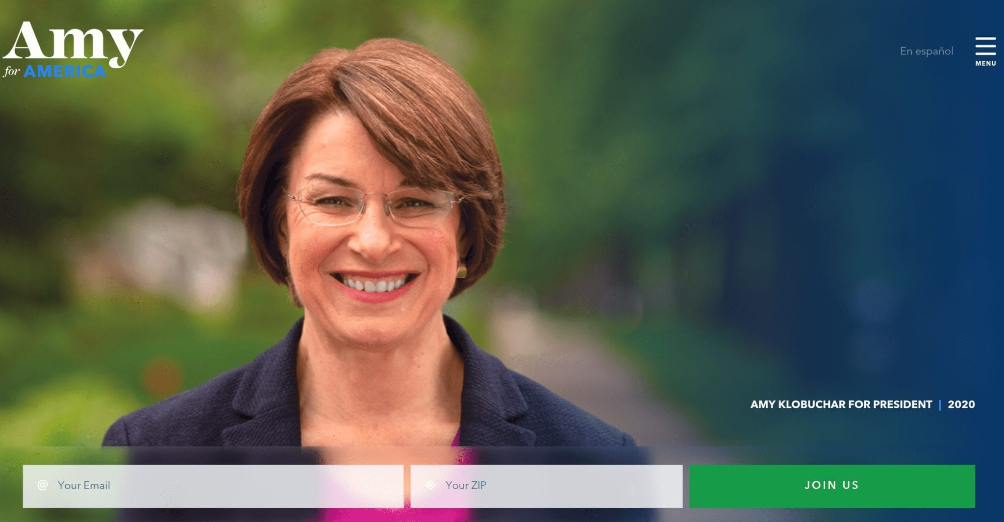 Amy Klobuchar 2020 campaign website
