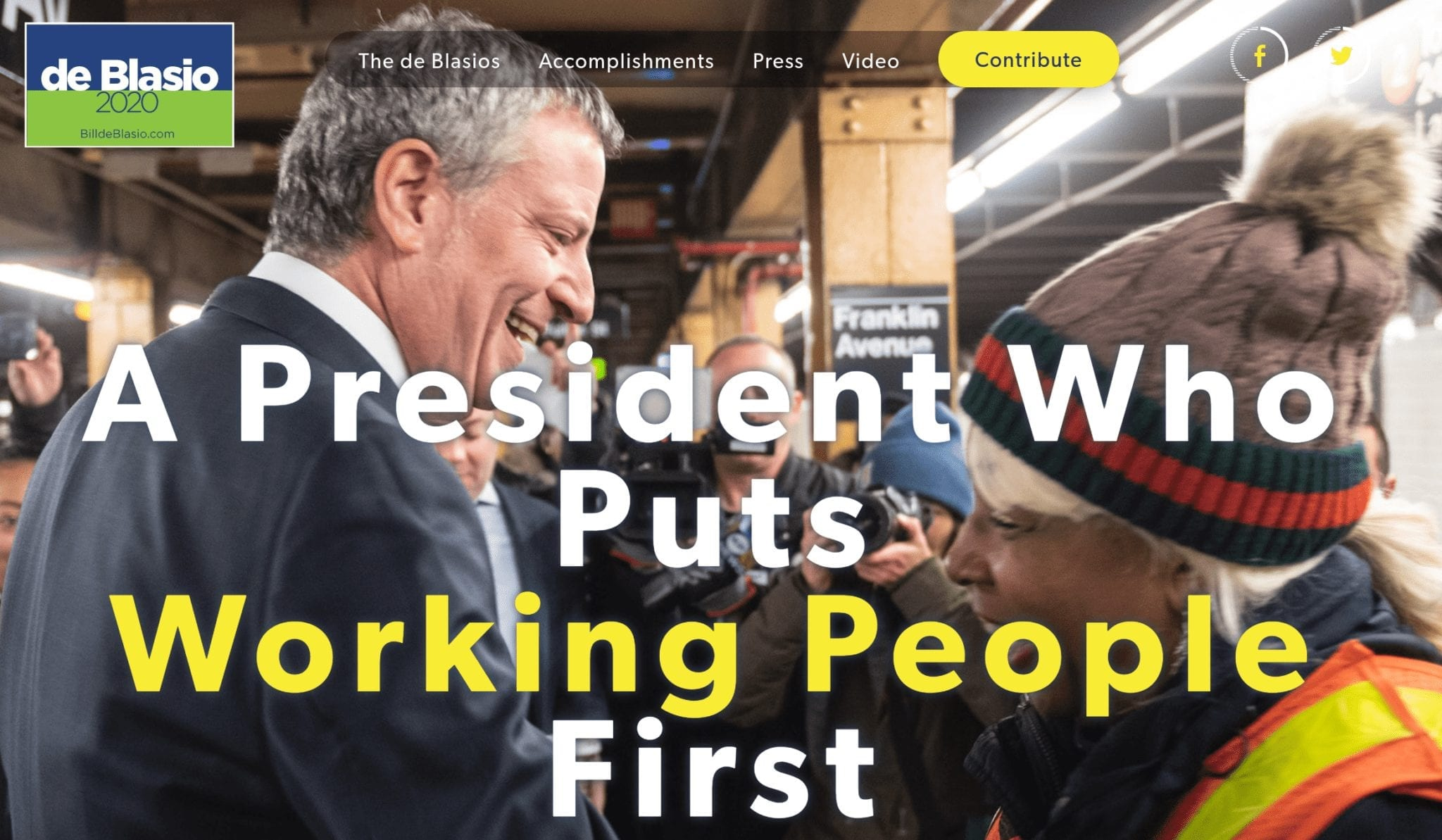 Bill de Blasio 2020 campaign website