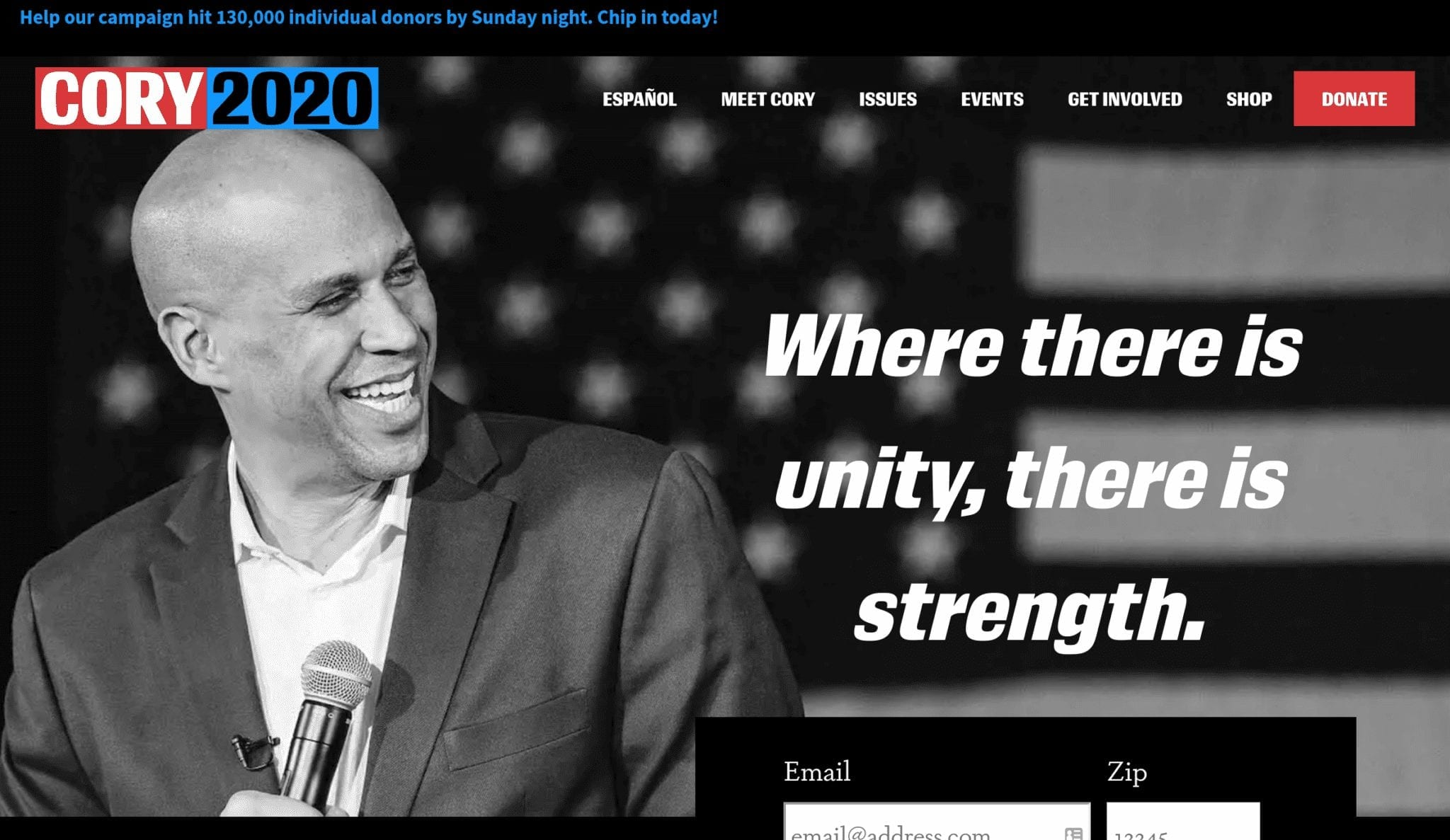 Cory Booker 2020 campaign website