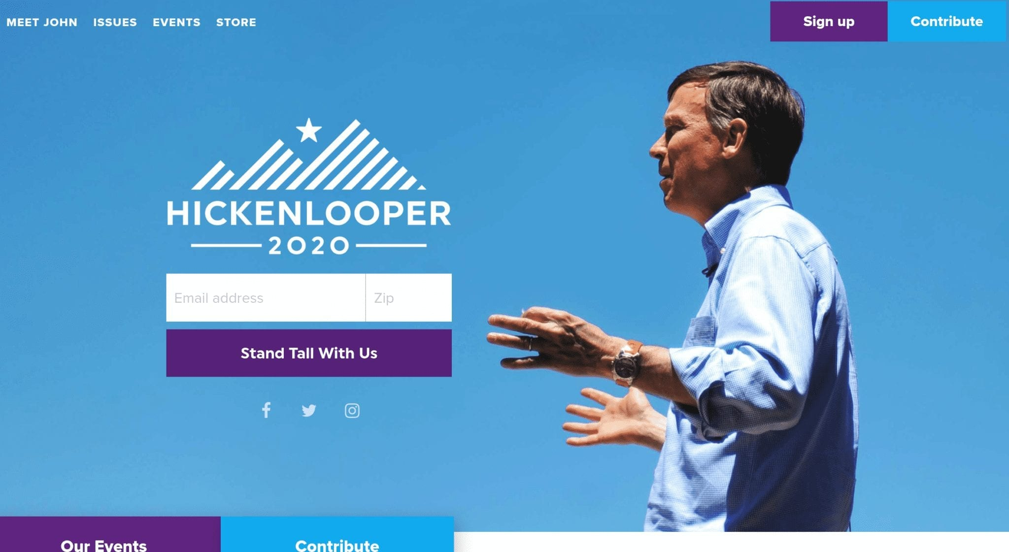 John Hickenlooper 2020 campaign website