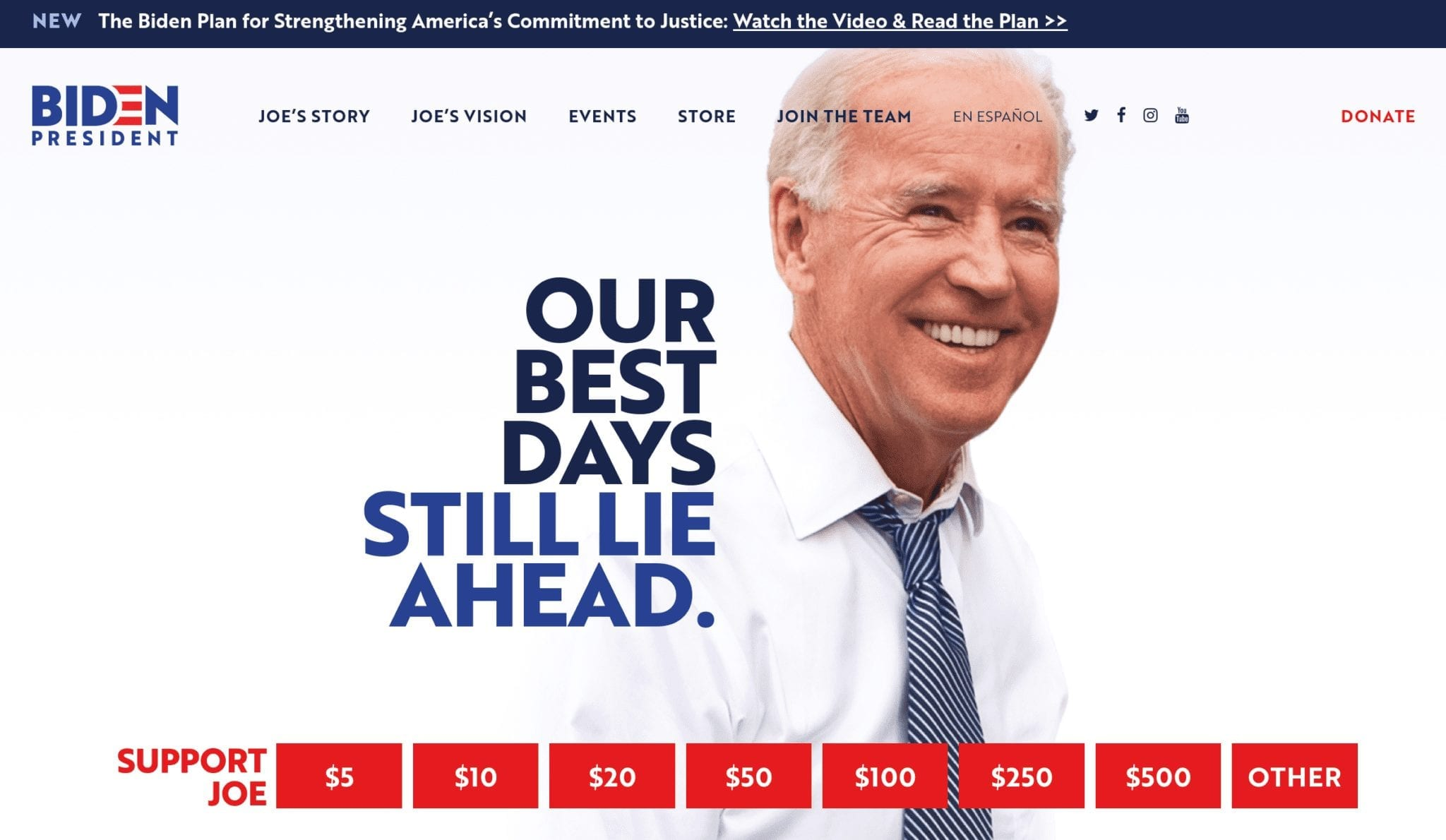 Joe Biden 2020 campaign website