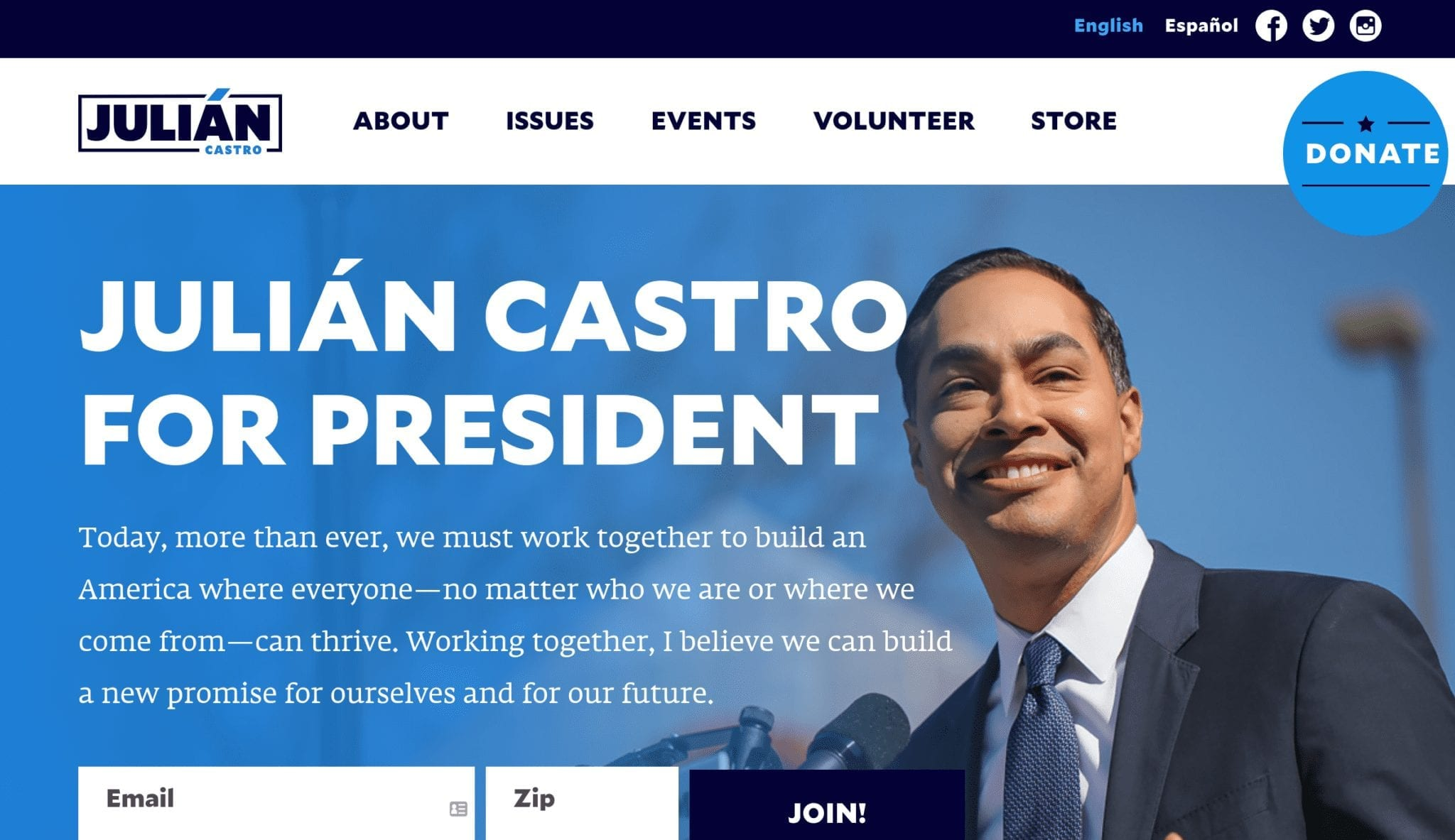 Julian Castro 2020 campaign website