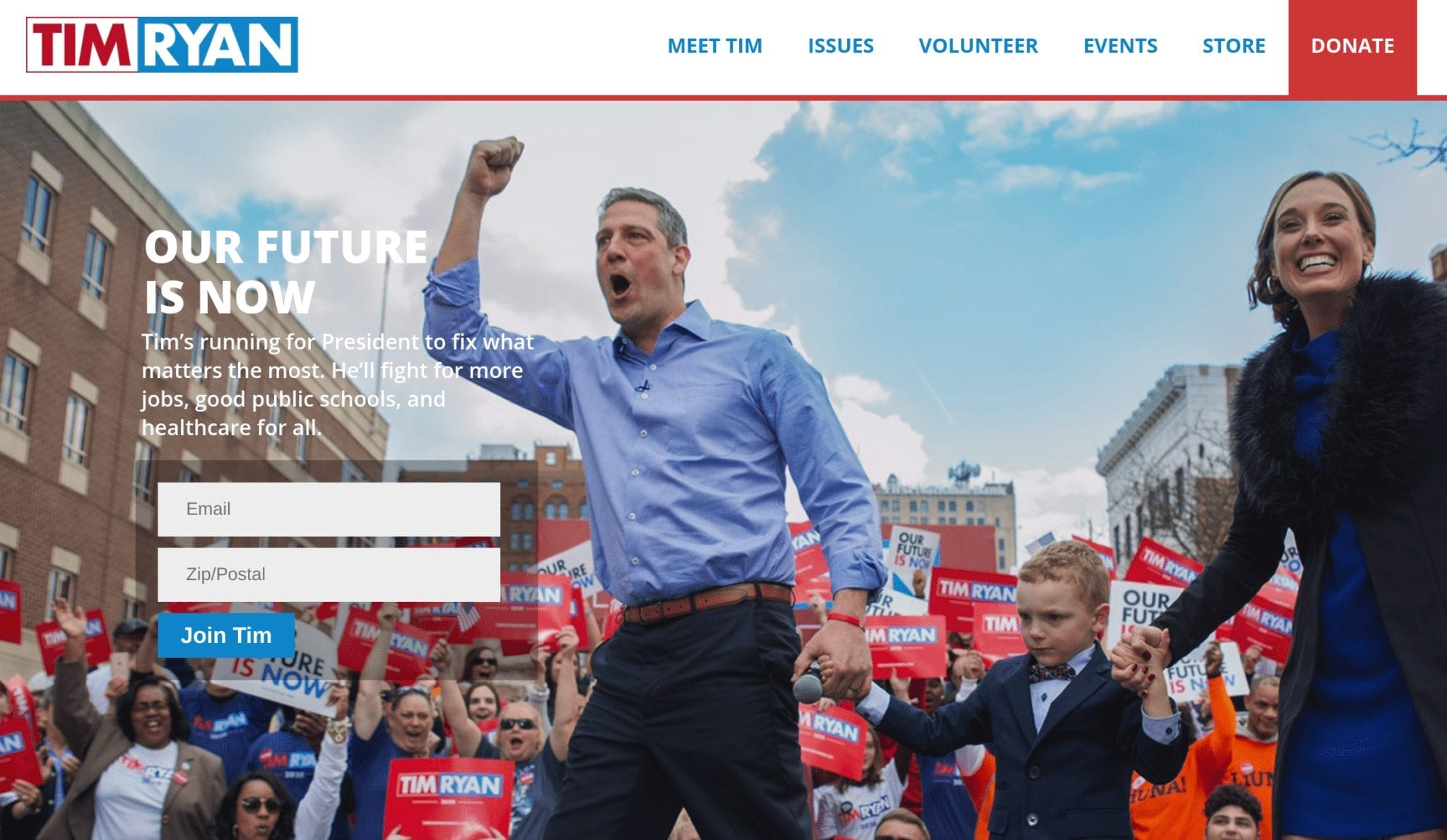 Tim Ryan 2020 campaign website